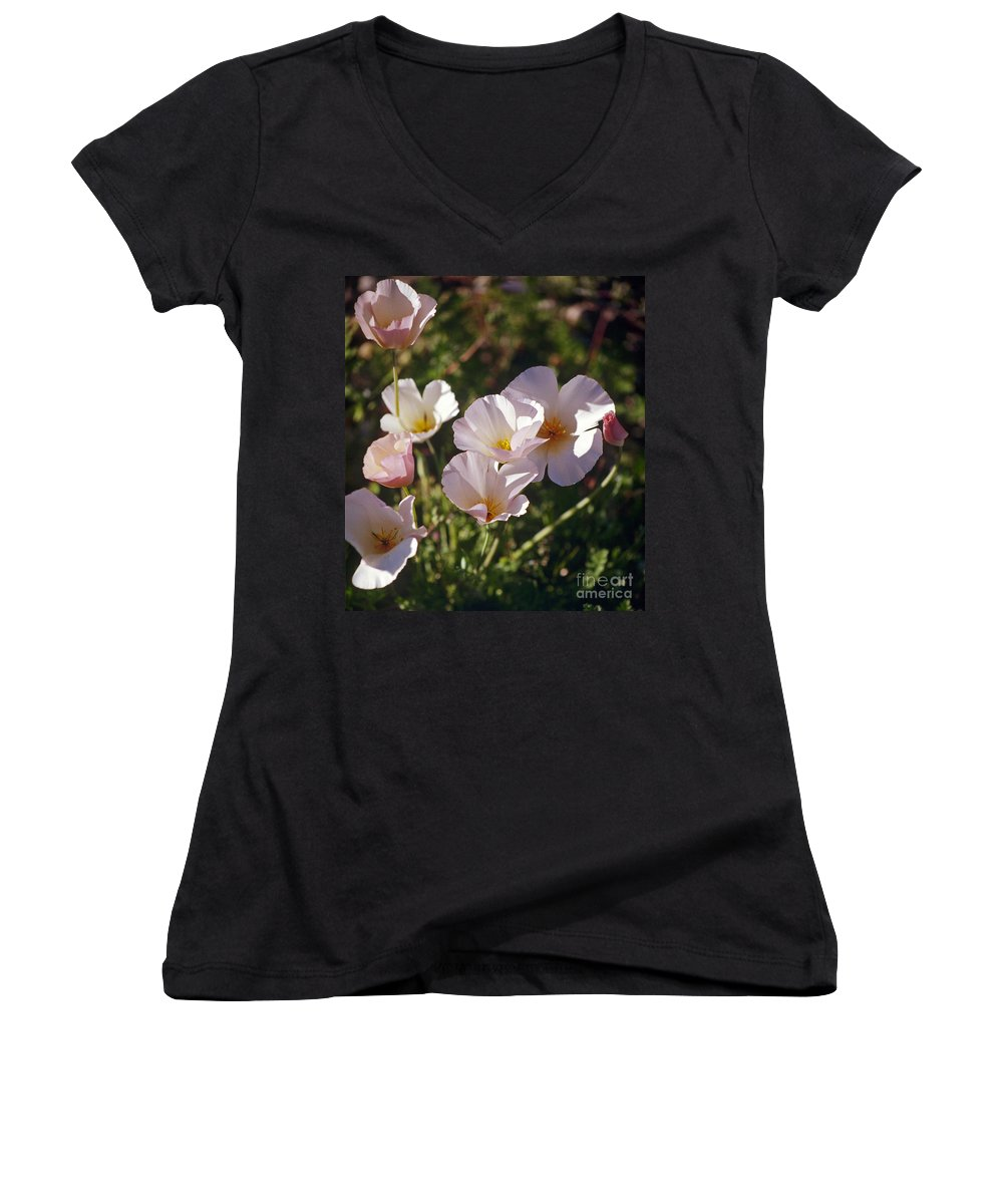 Flowers Women's V-Neck T-Shirt featuring the photograph Icelandic Poppies by Kathy McClure