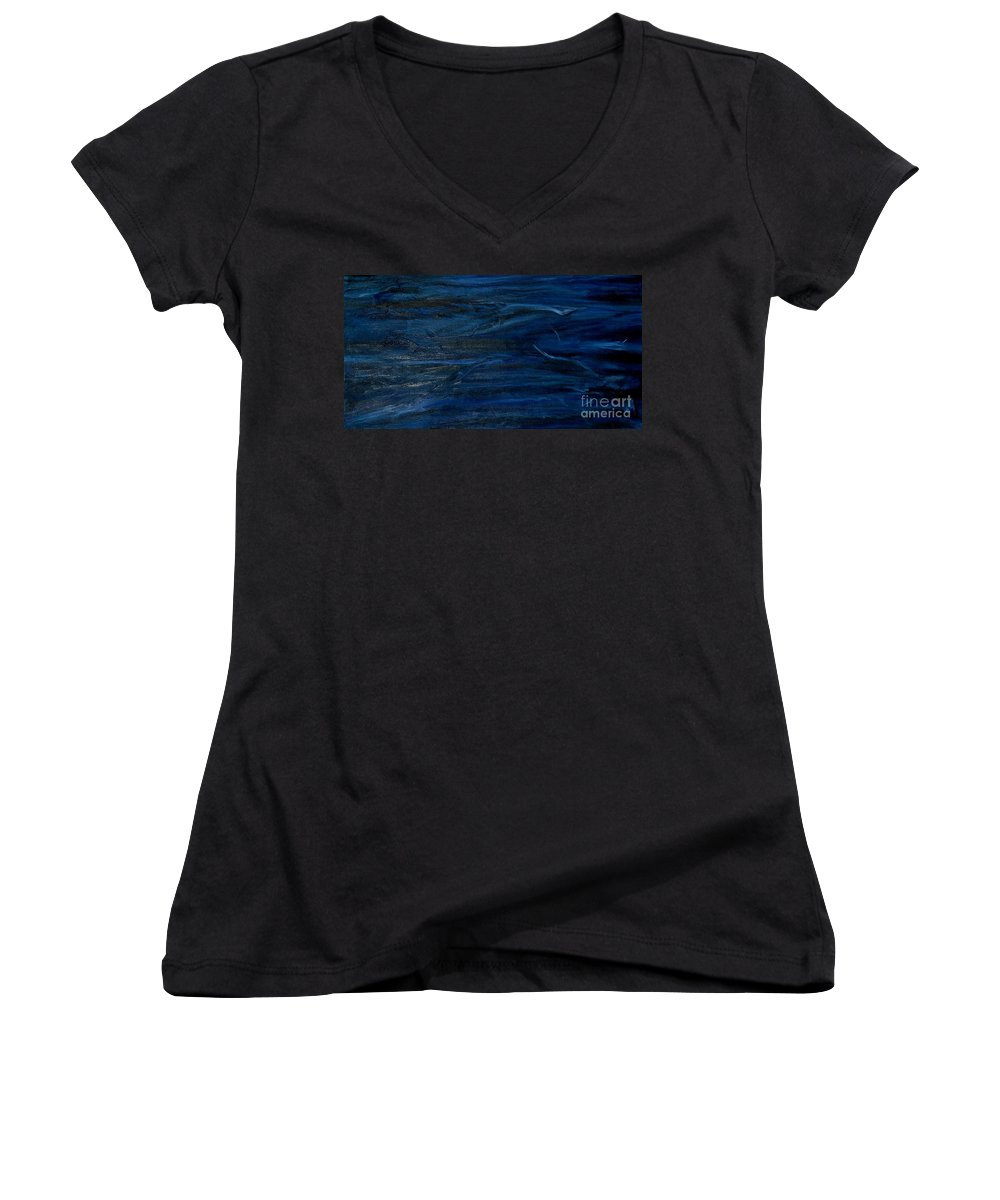 Modern Art Women's V-Neck T-Shirt featuring the painting Immense Blue by Silvana Abel