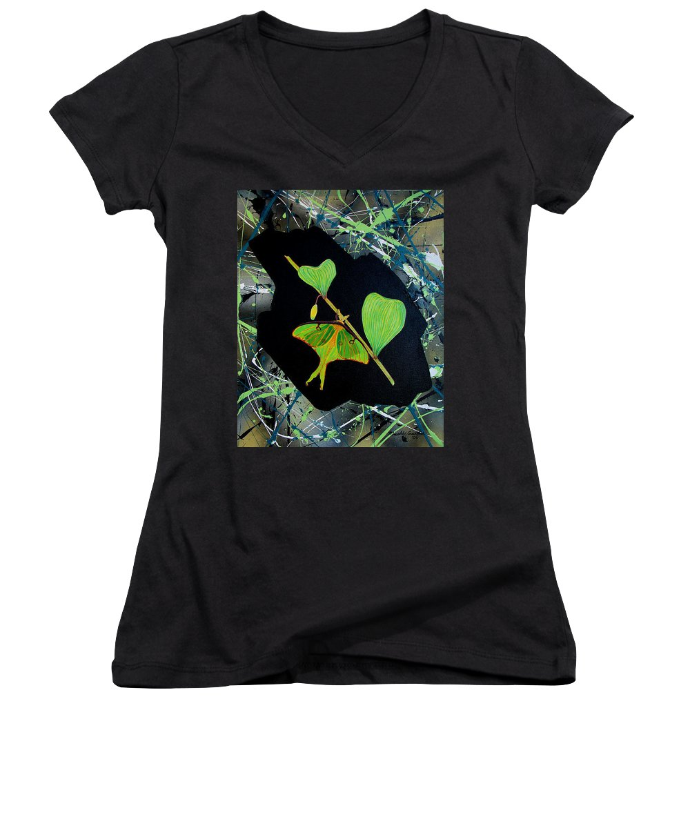 Abstract Women's V-Neck (Athletic Fit) featuring the painting Imperfect IIi by Micah Guenther