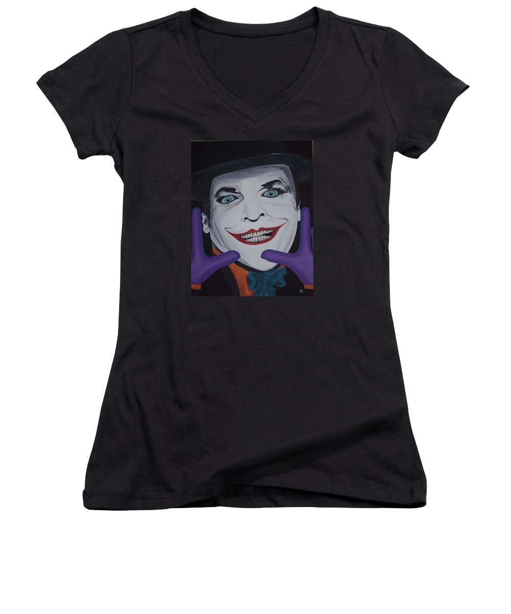 Colorful Women's V-Neck (Athletic Fit) featuring the painting Just Jack by Dean Stephens