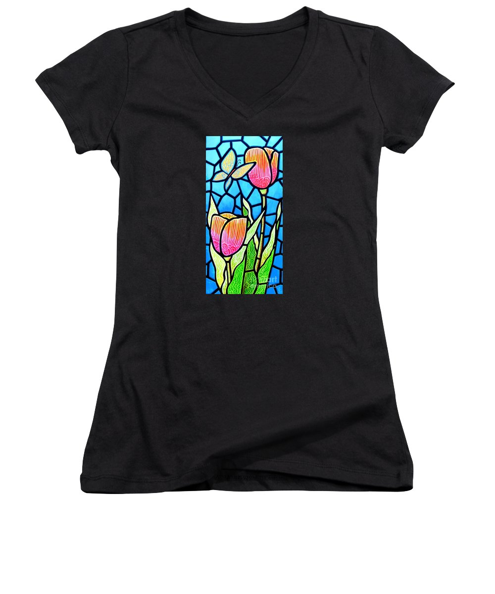 Butterflies Women's V-Neck (Athletic Fit) featuring the painting Just Visiting by Jim Harris