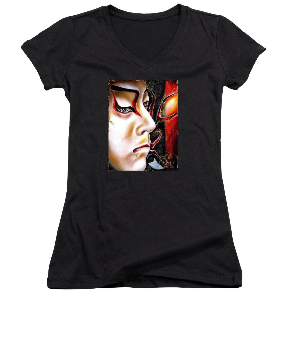 Kabuki Women's V-Neck T-Shirt featuring the painting Kabuki Three by Hiroko Sakai