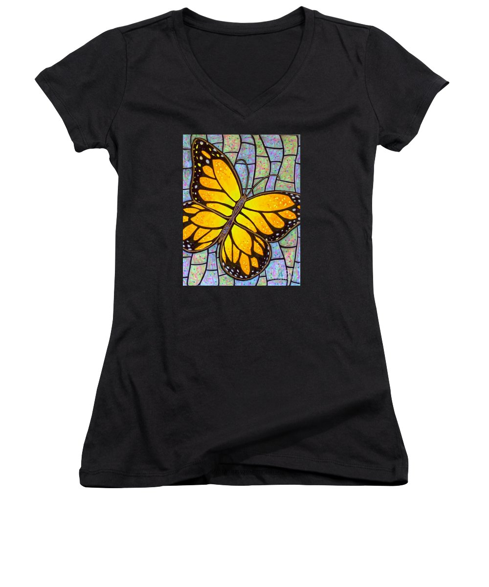 Butterflies Women's V-Neck (Athletic Fit) featuring the painting Karens Butterfly by Jim Harris