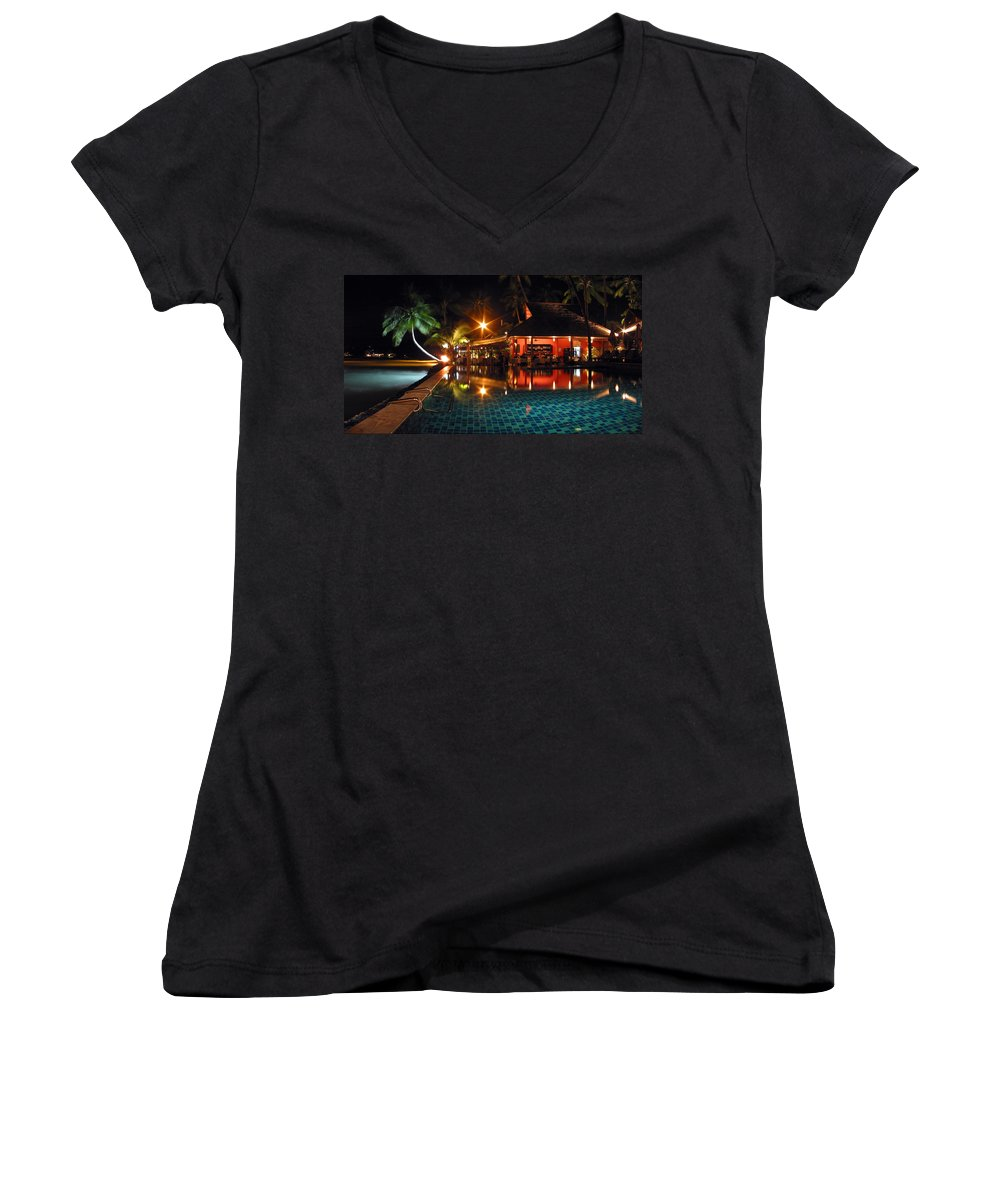 3scape Women's V-Neck (Athletic Fit) featuring the photograph Koh Samui Beach Resort by Adam Romanowicz
