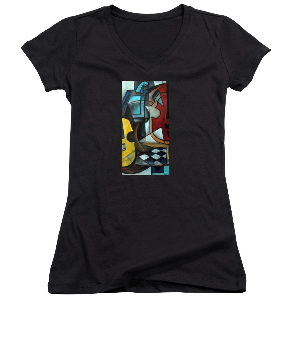 Abstract Women's V-Neck T-Shirt featuring the painting La Musique 1 by Valerie Vescovi