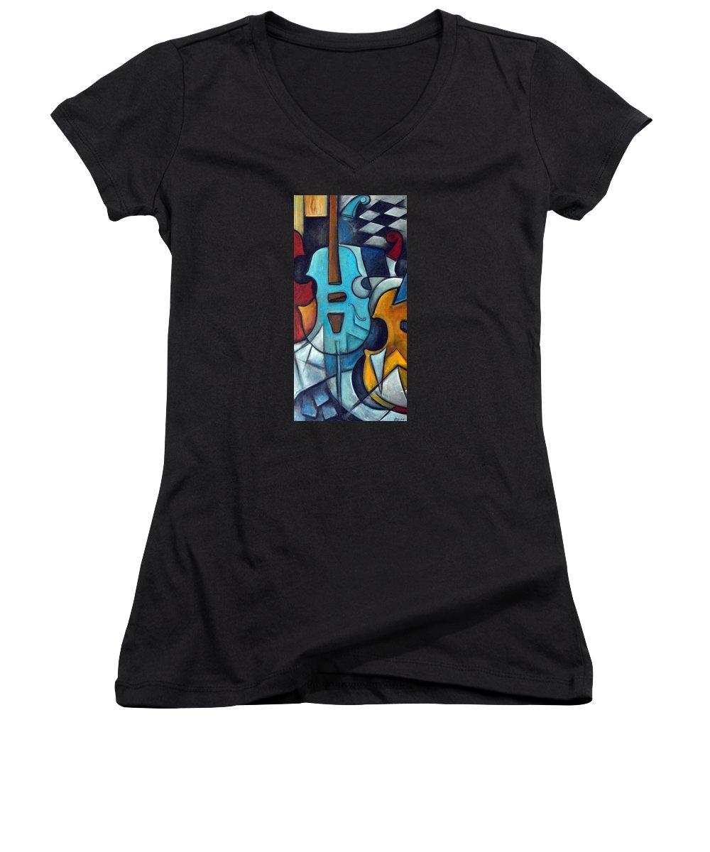 Music Women's V-Neck T-Shirt featuring the painting La Musique 2 by Valerie Vescovi