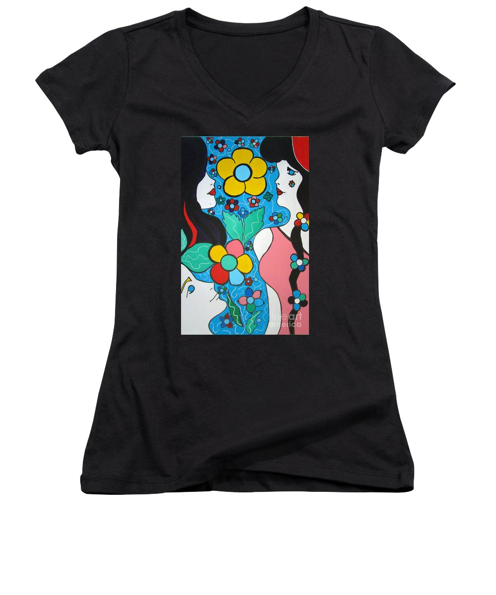 Pop Art Women's V-Neck T-Shirt featuring the painting Life Is Beautiful by Silvana Abel