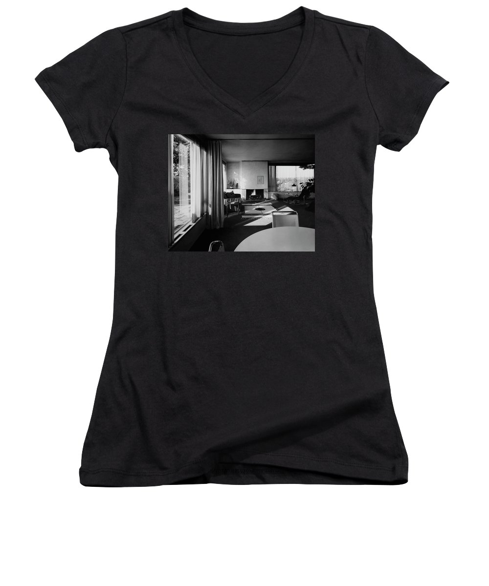 Home Women's V-Neck featuring the photograph Living Room In Mr. And Mrs. Walter Gropius' House by Robert M. Damora