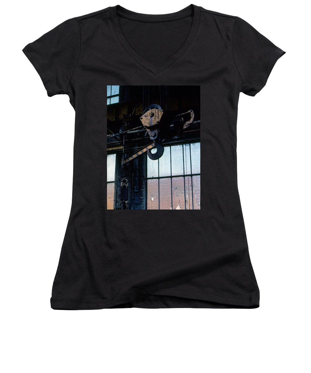 Hooks Women's V-Neck (Athletic Fit) featuring the photograph Locomotive Hook by Richard Rizzo