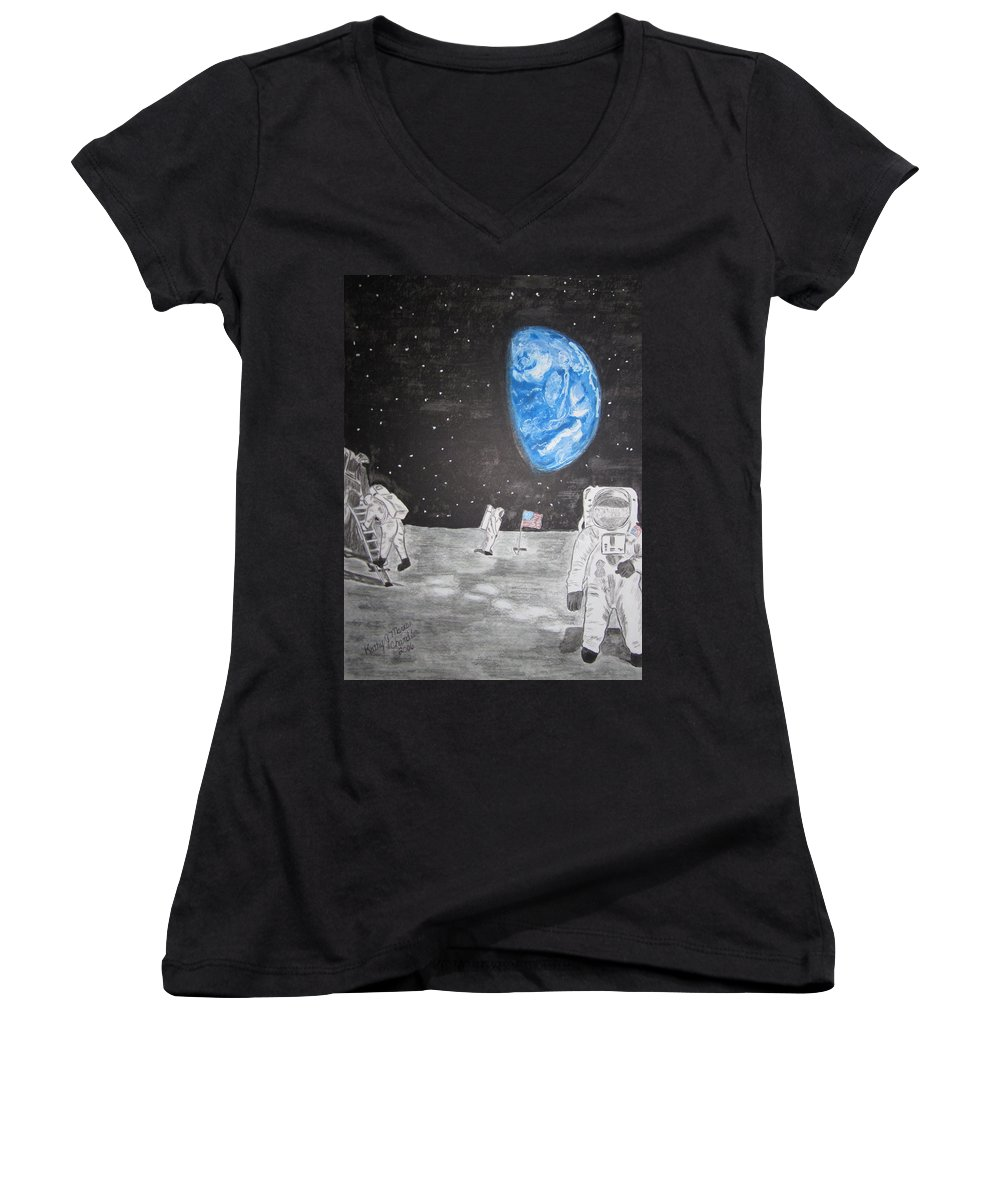 Stars Women's V-Neck T-Shirt featuring the painting Man On The Moon by Kathy Marrs Chandler