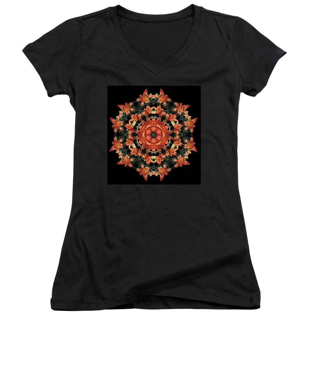 Mandala Women's V-Neck T-Shirt featuring the photograph Mandala Daylily by Nancy Griswold