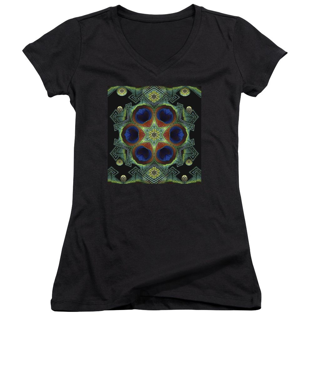 Mandala Women's V-Neck T-Shirt featuring the digital art Mandala Peacock by Nancy Griswold