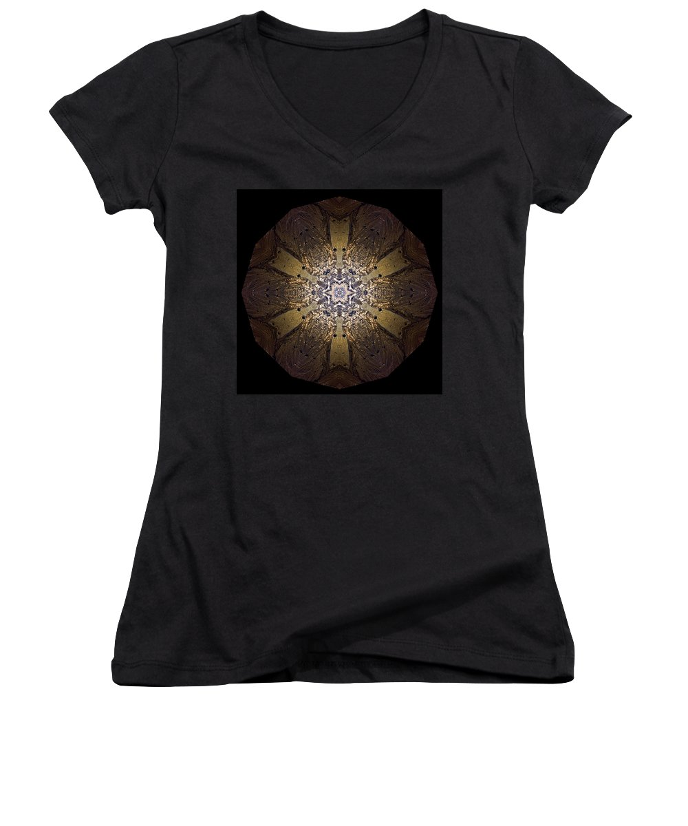 Mandala Women's V-Neck T-Shirt featuring the photograph Mandala Sand Dollar At Wells by Nancy Griswold