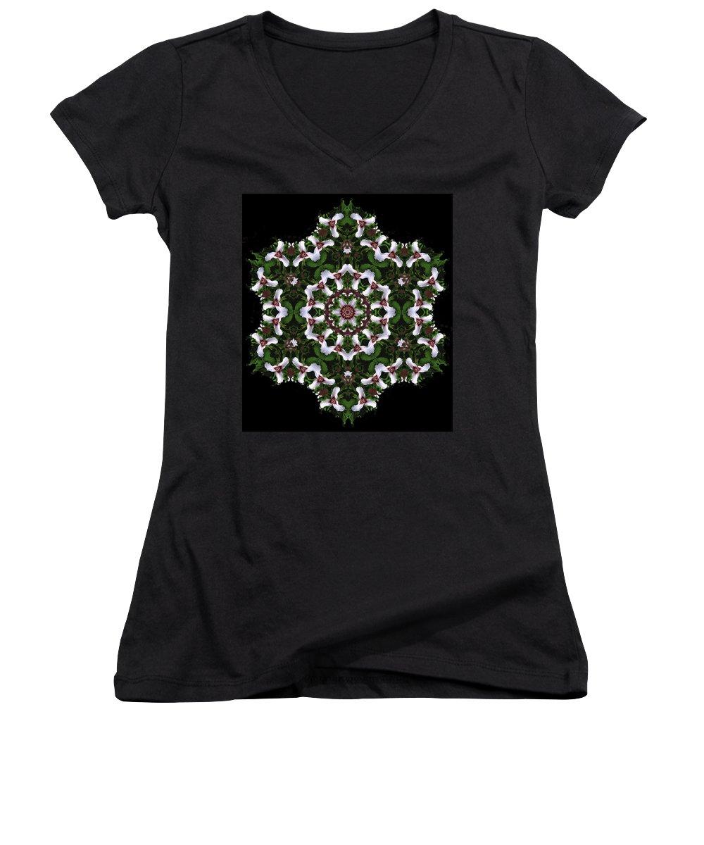 Mandala Women's V-Neck T-Shirt featuring the digital art Mandala Trillium Holiday by Nancy Griswold