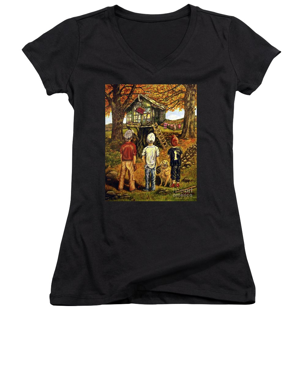 Trees Women's V-Neck T-Shirt featuring the painting Meadow Haven by Linda Simon
