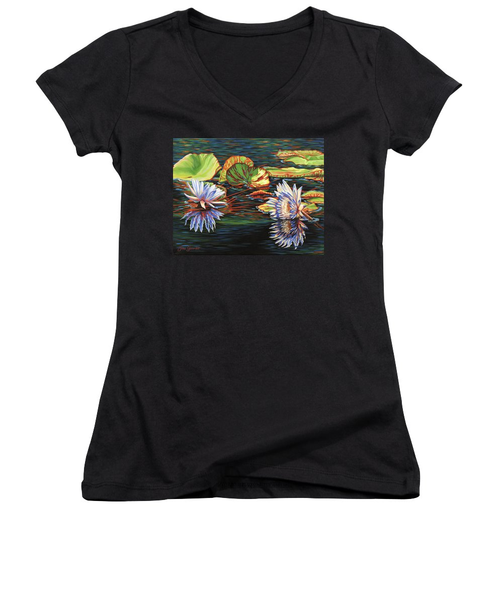 Lily Lilies Water Pond Pad Flower Flowers Floral Lake Women's V-Neck T-Shirt featuring the painting Mirrored Lilies by Jane Girardot