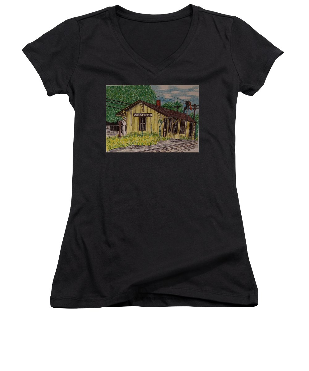 Monon. Monon Train Women's V-Neck T-Shirt featuring the painting Monon Clear Creek Indiana Train Depot by Kathy Marrs Chandler