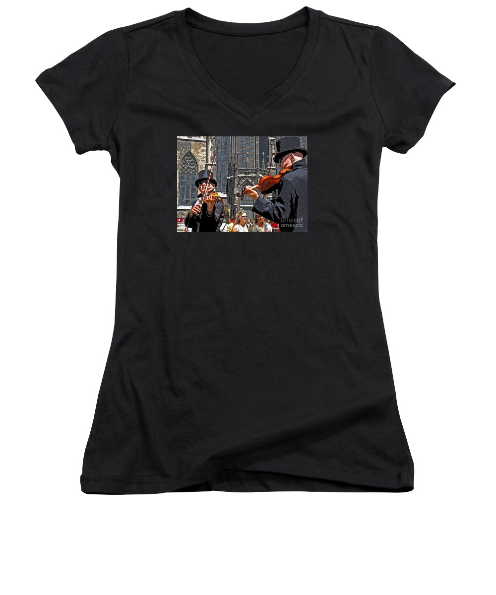 Buskers Women's V-Neck (Athletic Fit) featuring the photograph Mozart In Masquerade by Ann Horn
