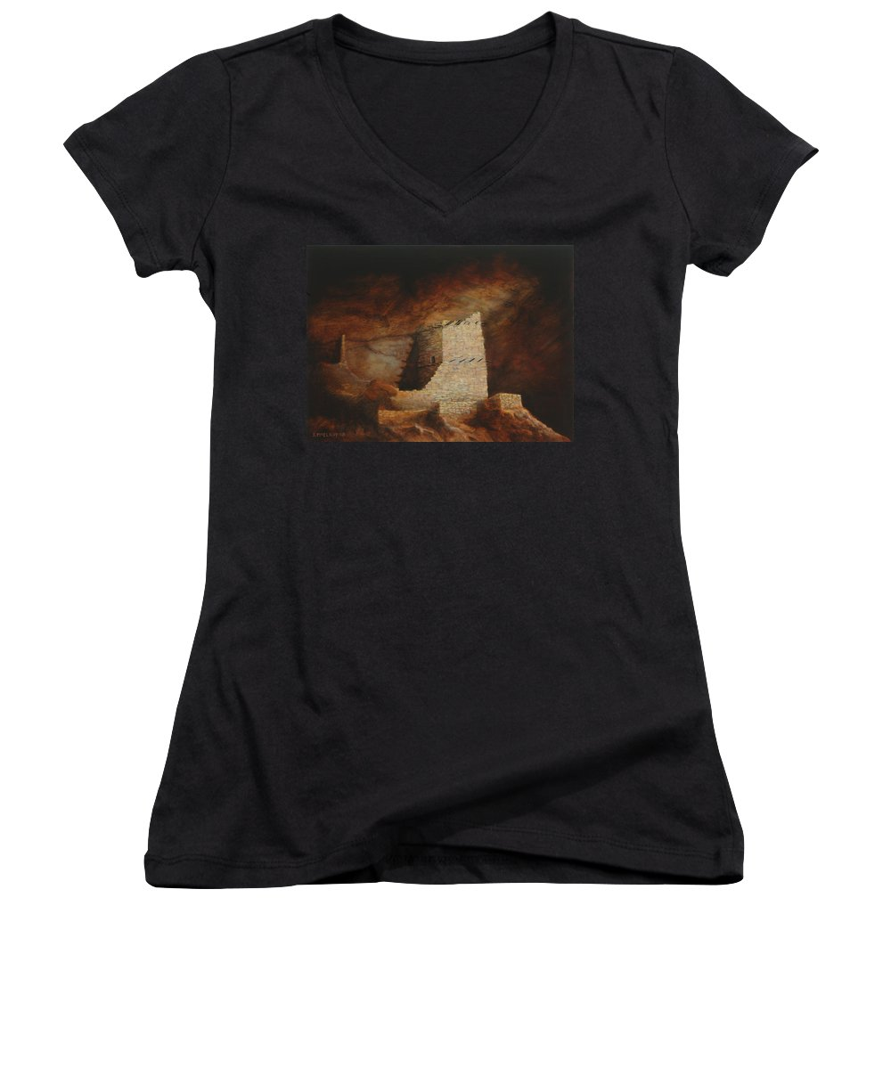 Anasazi Women's V-Neck T-Shirt featuring the painting Mummy Cave by Jerry McElroy