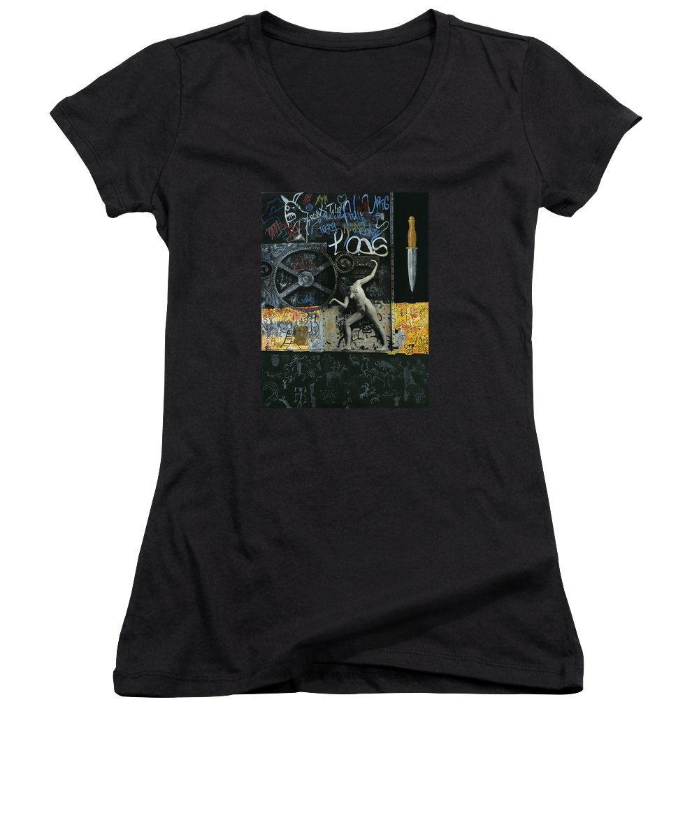 City Women's V-Neck T-Shirt featuring the painting New York City by Yelena Tylkina