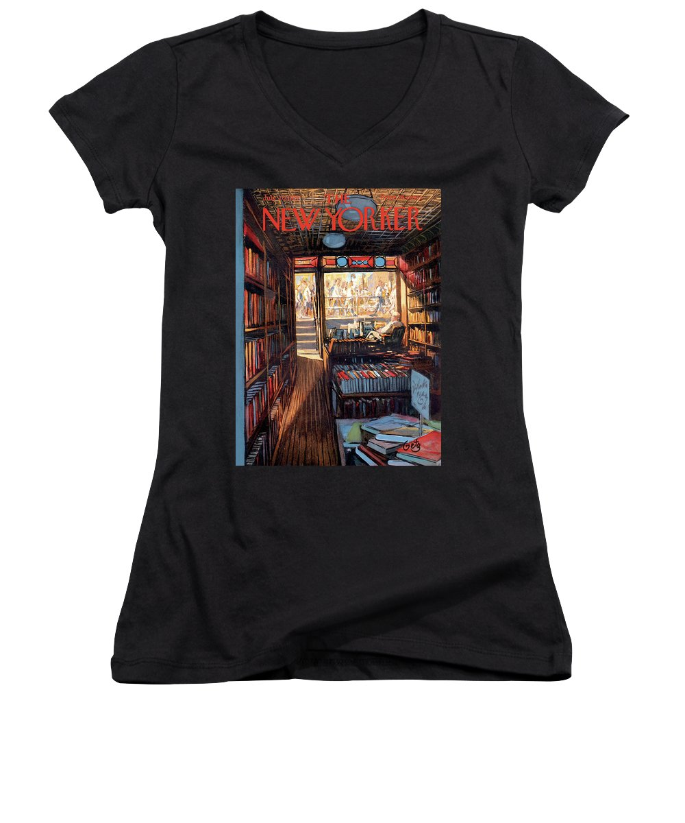 Arthur Getz Agt Women's V-Neck featuring the painting New Yorker July 20th, 1957 by Arthur Getz