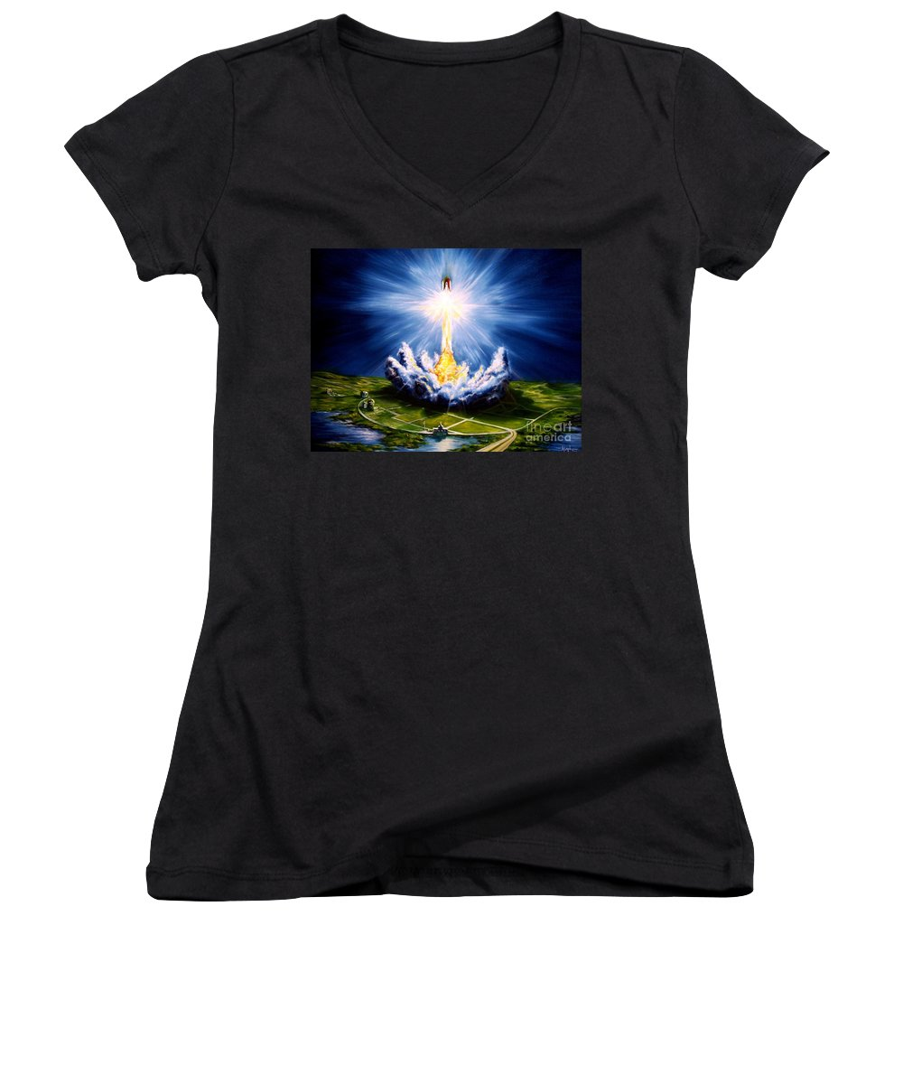 Landscape Women's V-Neck T-Shirt featuring the painting Night At The Cape by Murphy Elliott