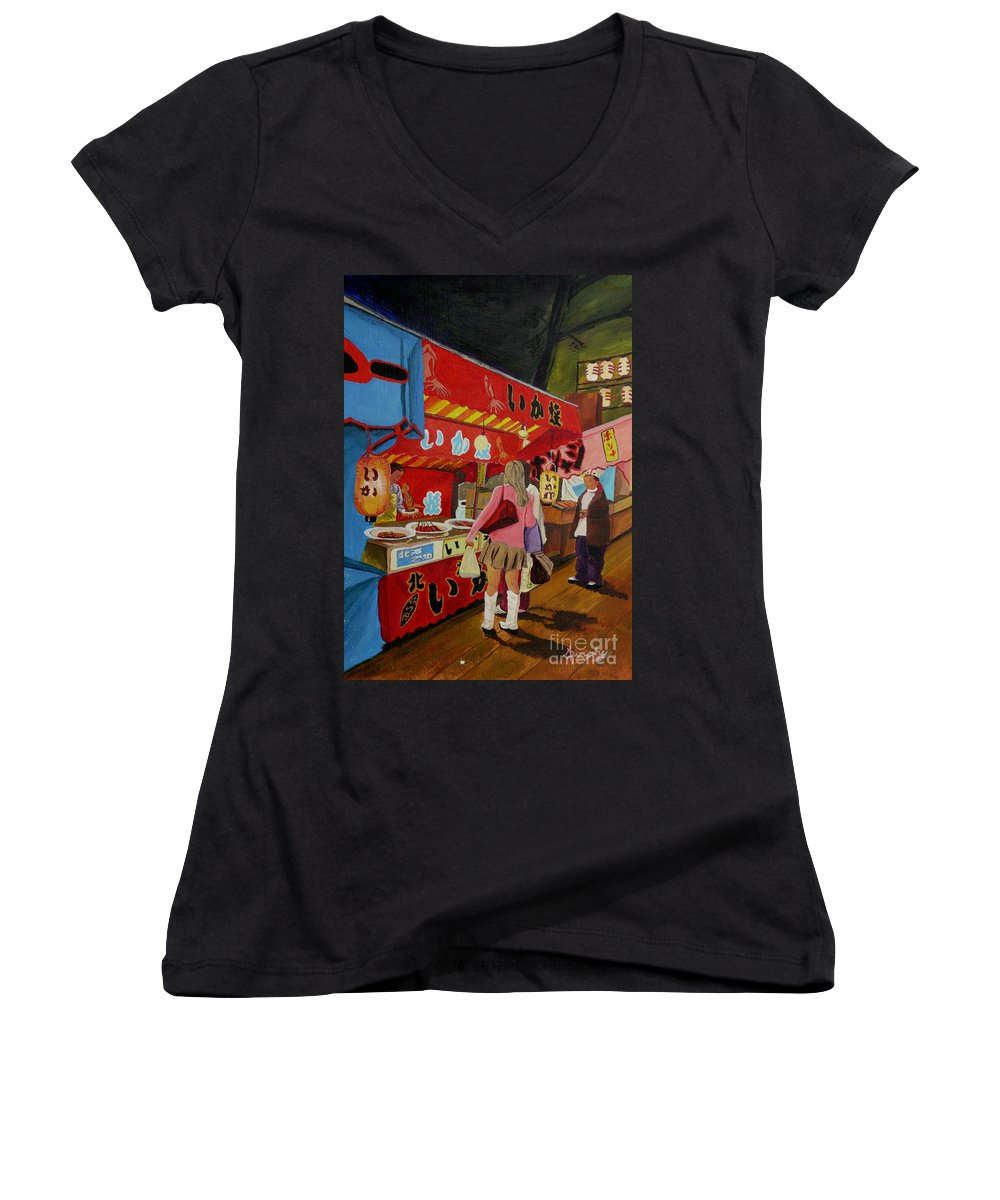 Japan Women's V-Neck T-Shirt featuring the painting Night Festival by Anthony Dunphy