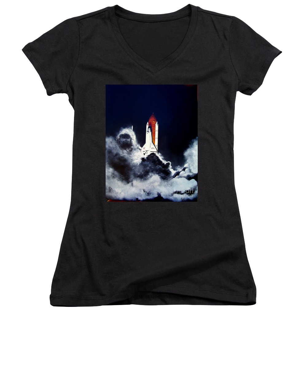 Oil Women's V-Neck (Athletic Fit) featuring the painting Night Launch by Murphy Elliott