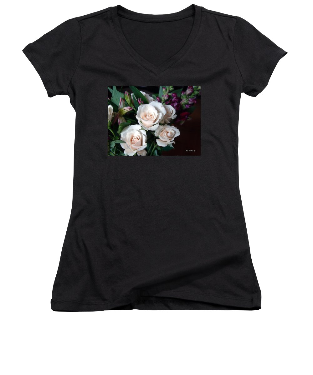 Flowers Women's V-Neck T-Shirt featuring the photograph Pardon My Blush by RC deWinter