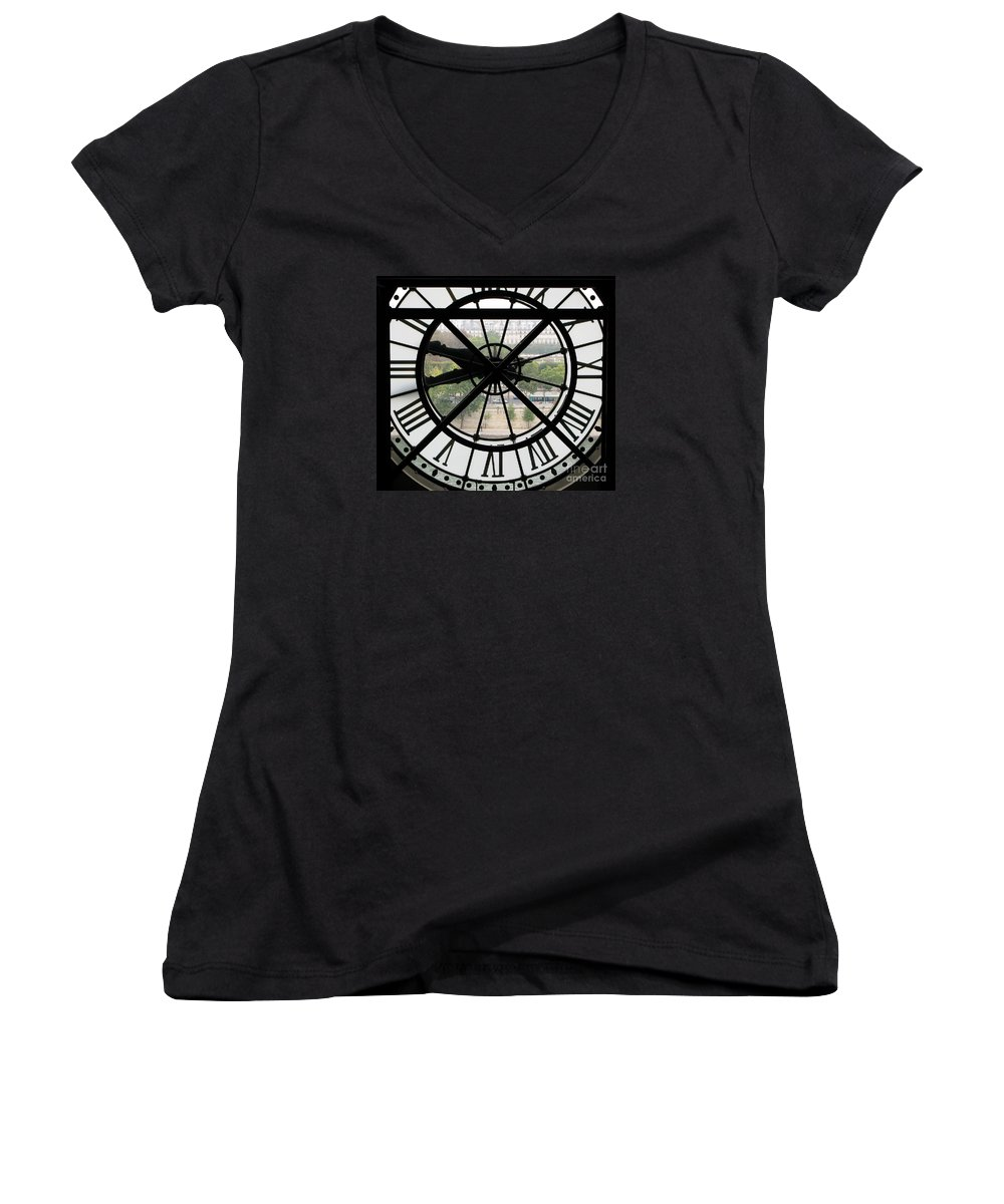 Clock Women's V-Neck (Athletic Fit) featuring the photograph Paris Time by Ann Horn