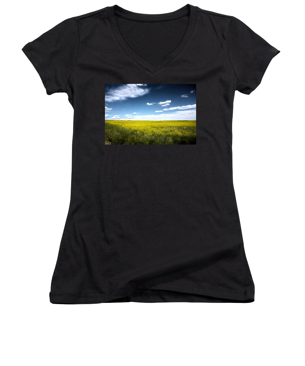 Pawnee National Grasslands Women's V-Neck (Athletic Fit) featuring the photograph Pawnee Grasslands by Shane Bechler