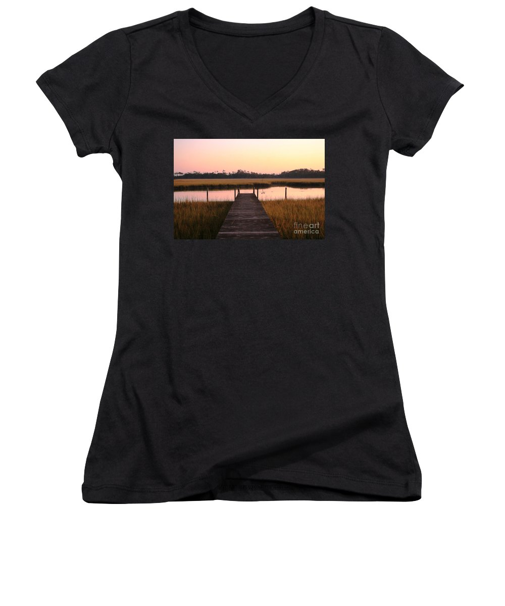 Pink Women's V-Neck (Athletic Fit) featuring the photograph Pink And Orange Morning On The Marsh by Nadine Rippelmeyer