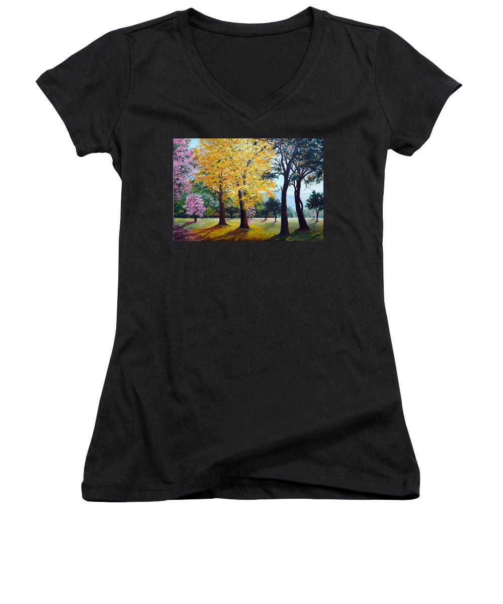Tree Painting Landscape Painting Caribbean Painting Poui Tree Yellow Blossoms Trinidad Queens Park Savannah Port Of Spain Trinidad And Tobago Painting Savannah Tropical Painting Women's V-Neck T-Shirt featuring the painting Poui Trees In The Savannah by Karin Dawn Kelshall- Best