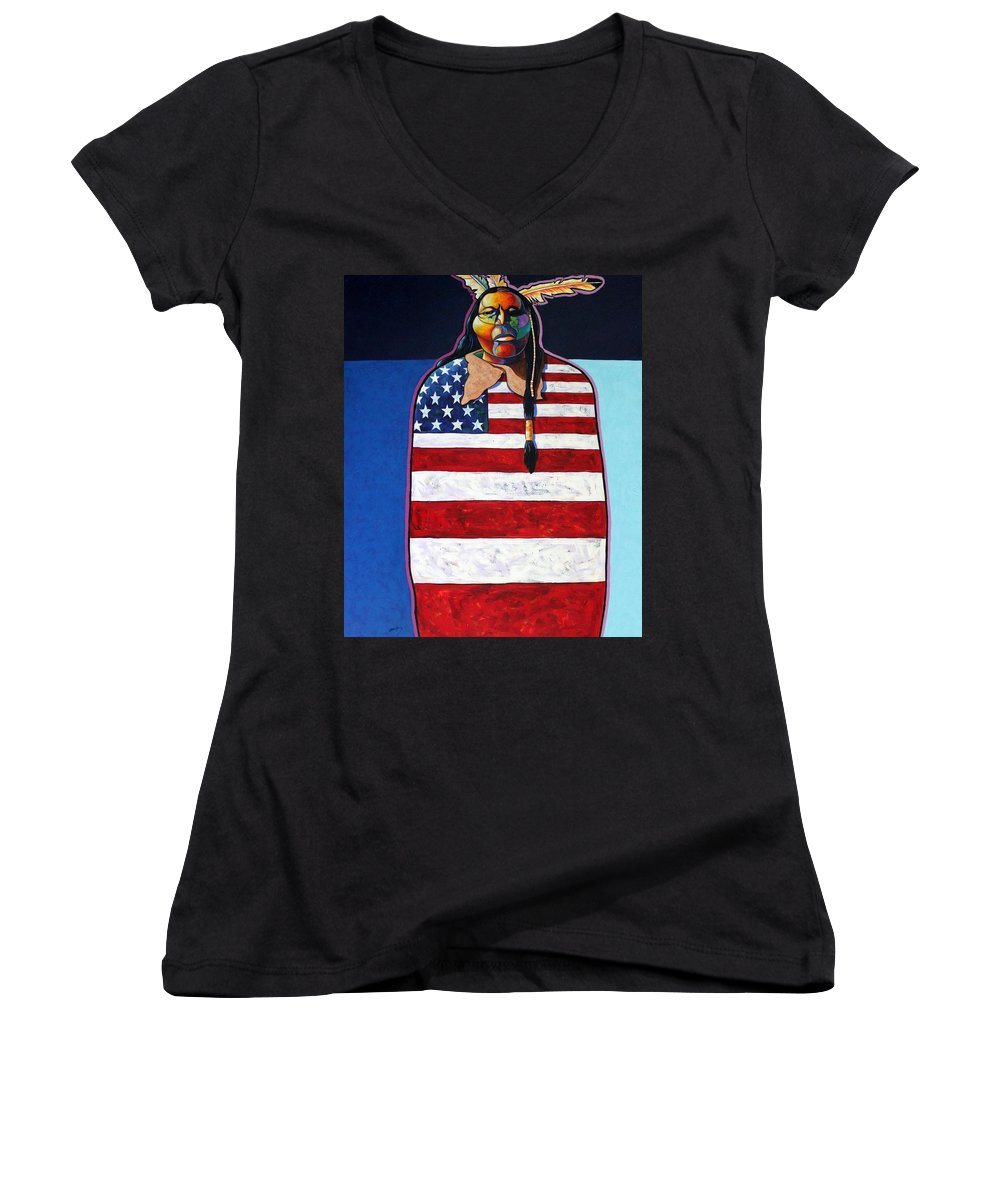 Native American Wrapped In Us Flag Women's V-Neck T-Shirt featuring the painting Poverty Still Cracks The Whip by Joe Triano