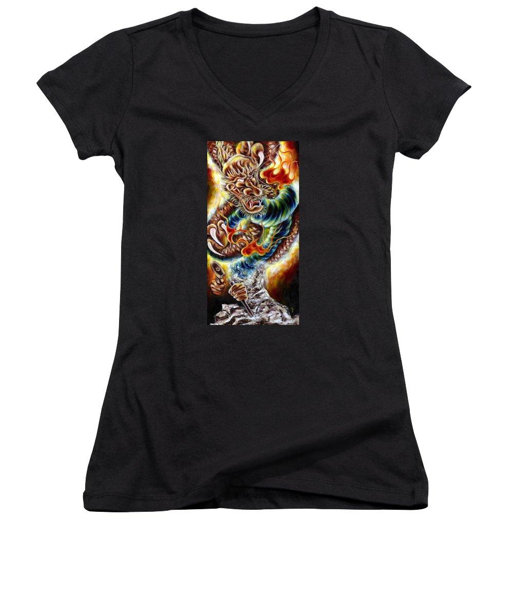 Caving Women's V-Neck T-Shirt featuring the painting Power Of Spirit by Hiroko Sakai