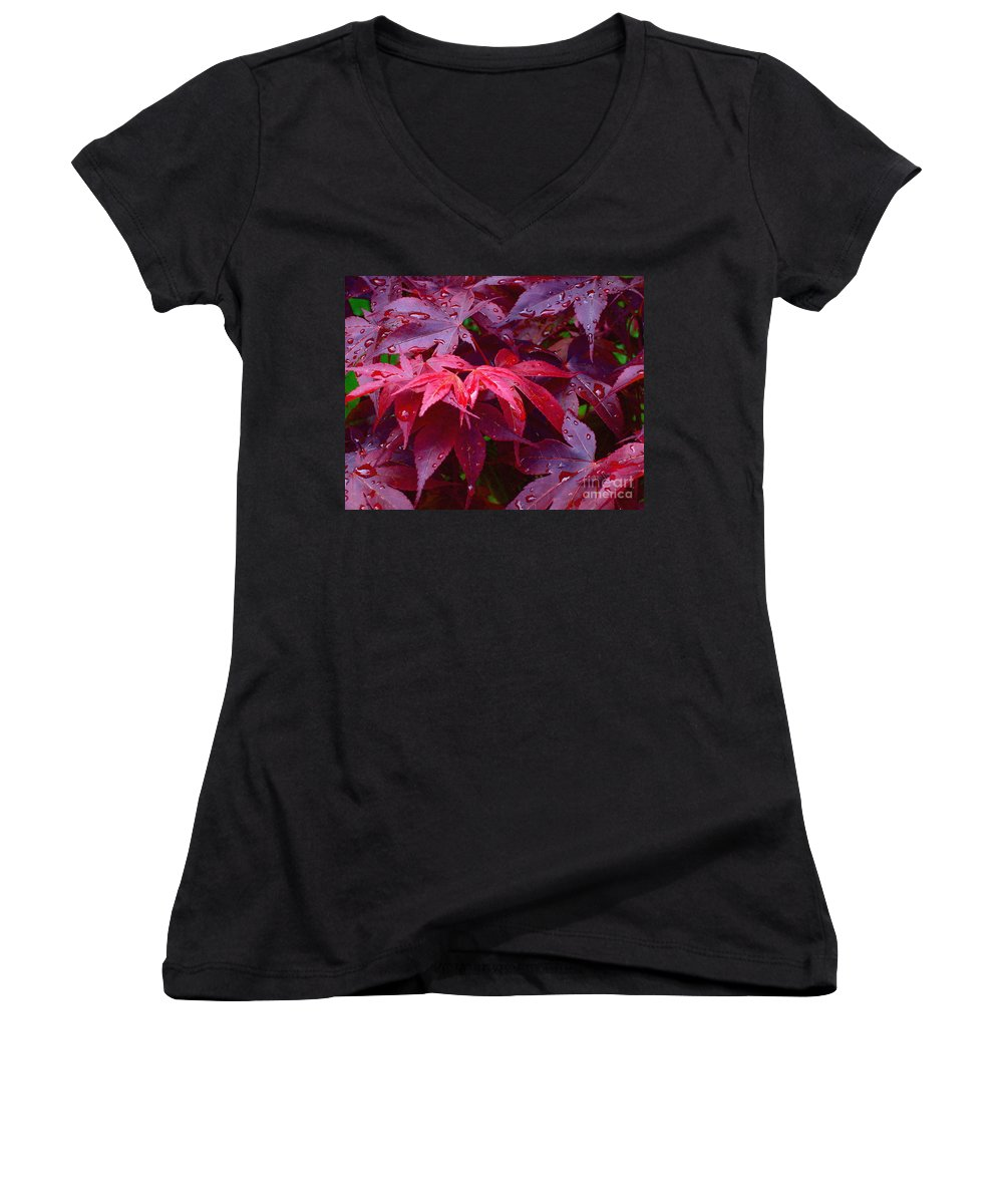 Rain Women's V-Neck T-Shirt featuring the photograph Red Maple After Rain by Ann Horn