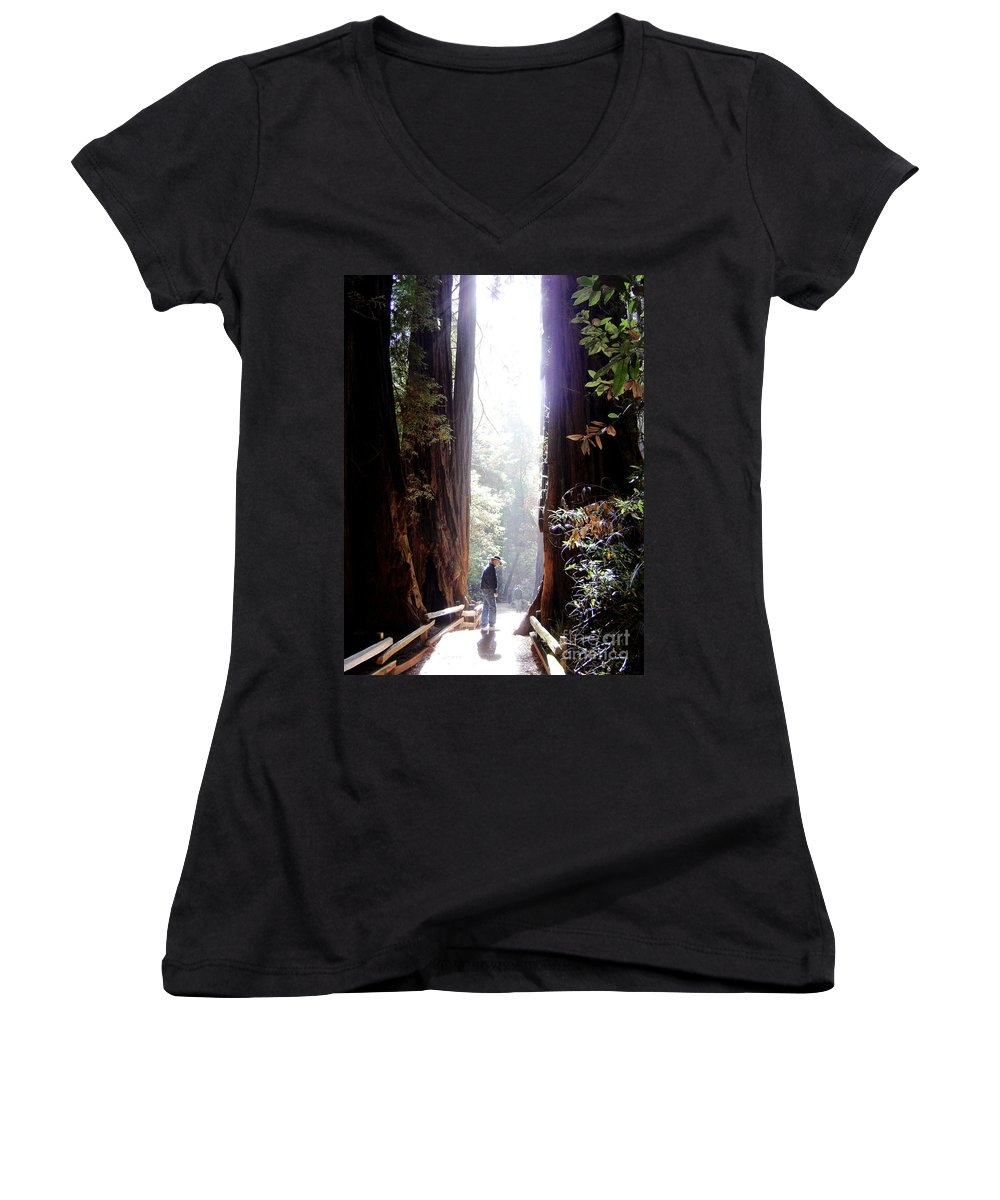 Pathway Women's V-Neck T-Shirt featuring the photograph Redwood Path by Mary Rogers