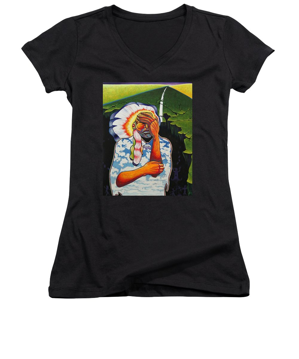 American Indian Women's V-Neck T-Shirt featuring the painting Release Me by Joe Triano