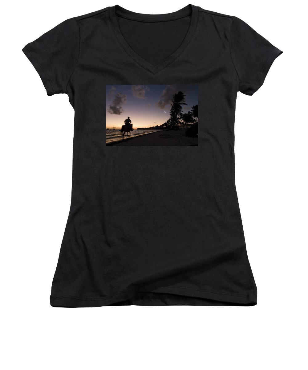 3scape Women's V-Neck (Athletic Fit) featuring the photograph Riding On The Beach by Adam Romanowicz