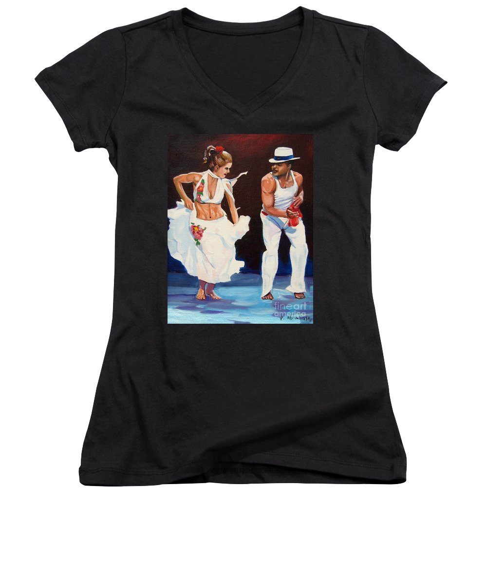 Dancing Women's V-Neck T-Shirt featuring the painting Salsa by Jose Manuel Abraham
