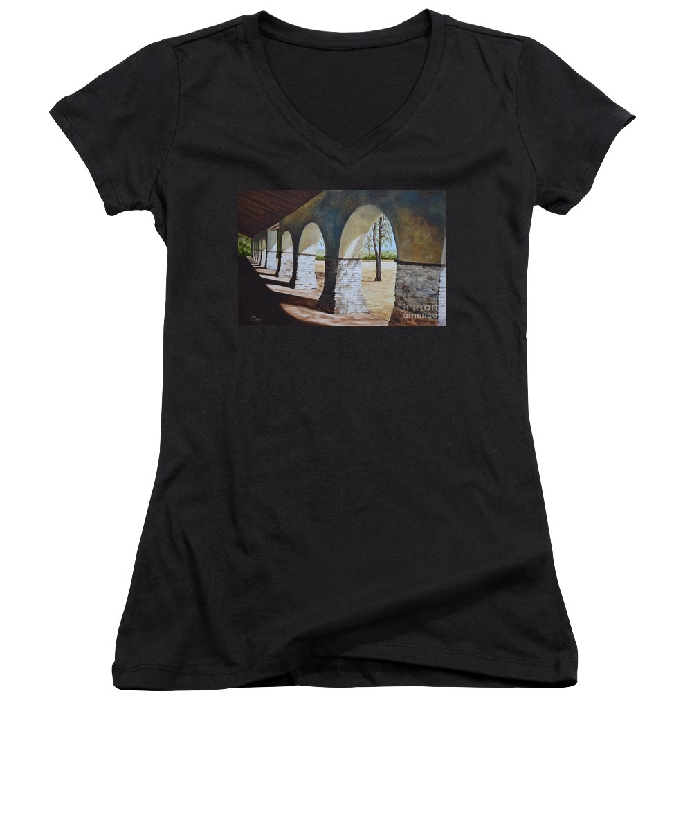California Landmark Women's V-Neck (Athletic Fit) featuring the painting San Juan Bautista Mission by Mary Rogers