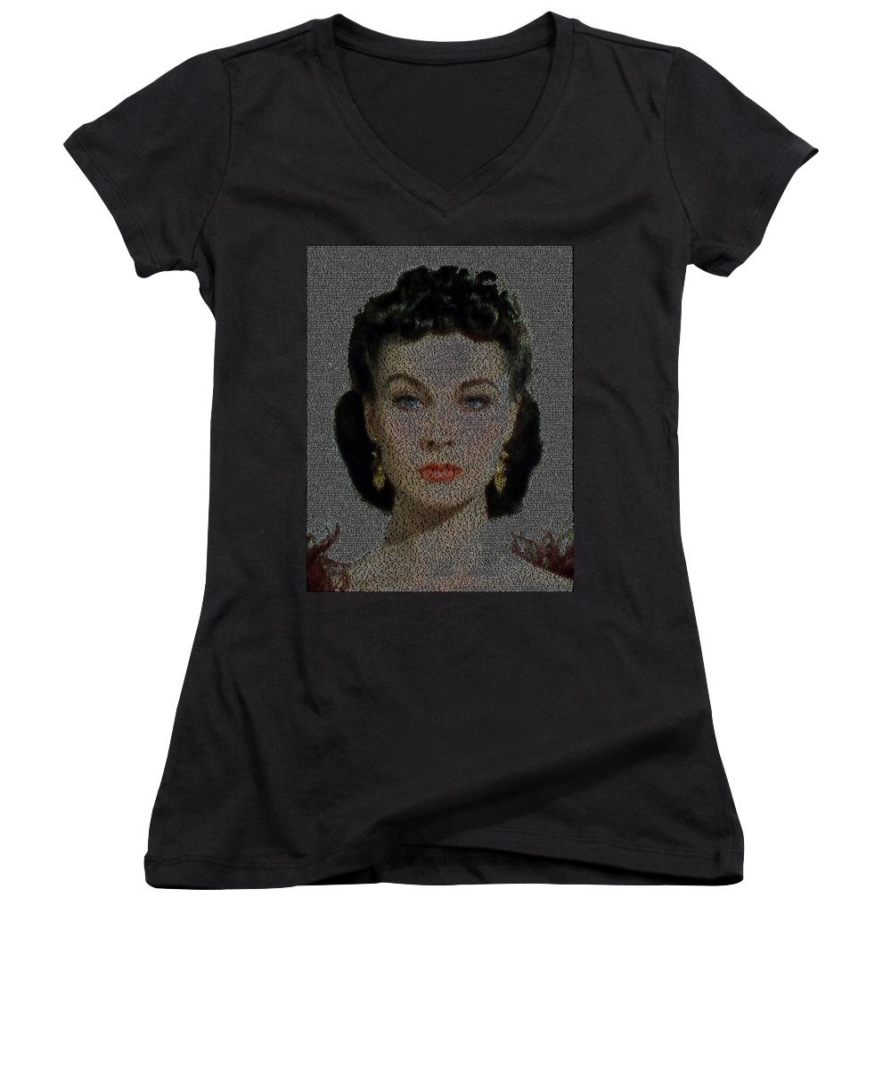Scarlett Ohara Quotes Mosaic Womens V Neck For Sale By Paul Van Scott