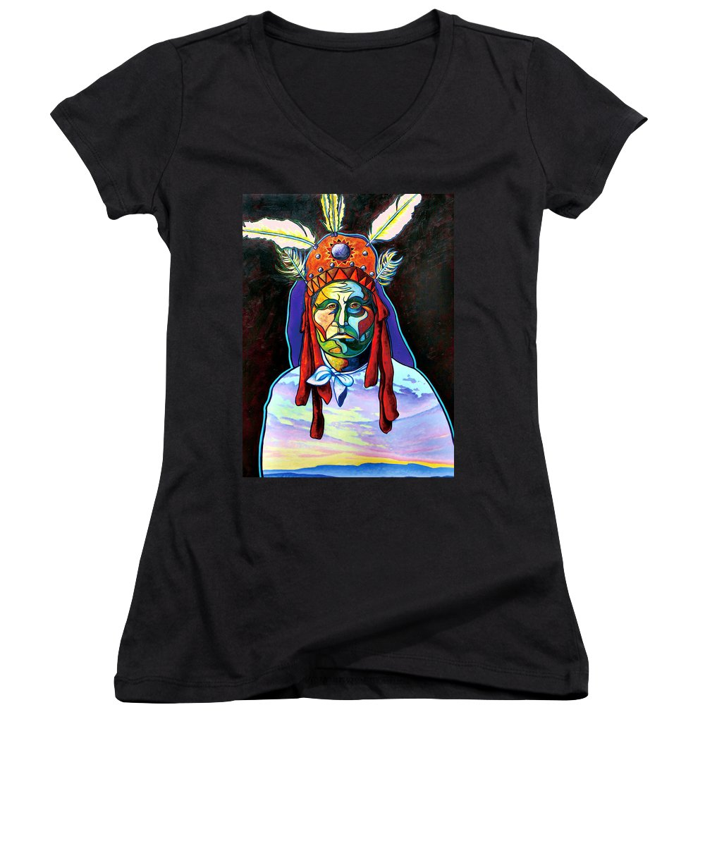 American Indian Women's V-Neck (Athletic Fit) featuring the painting Shamans Power by Joe Triano