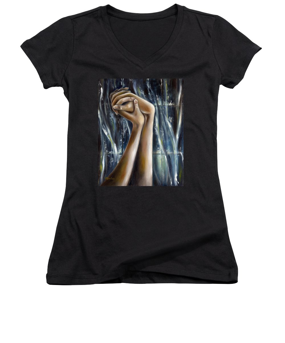 Blue Women's V-Neck T-Shirt featuring the painting Snow Light by Hiroko Sakai