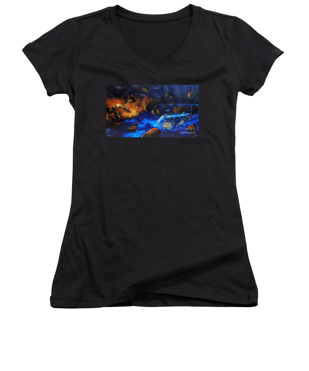 Future Women's V-Neck T-Shirt featuring the painting Spaceship Titanic by Murphy Elliott