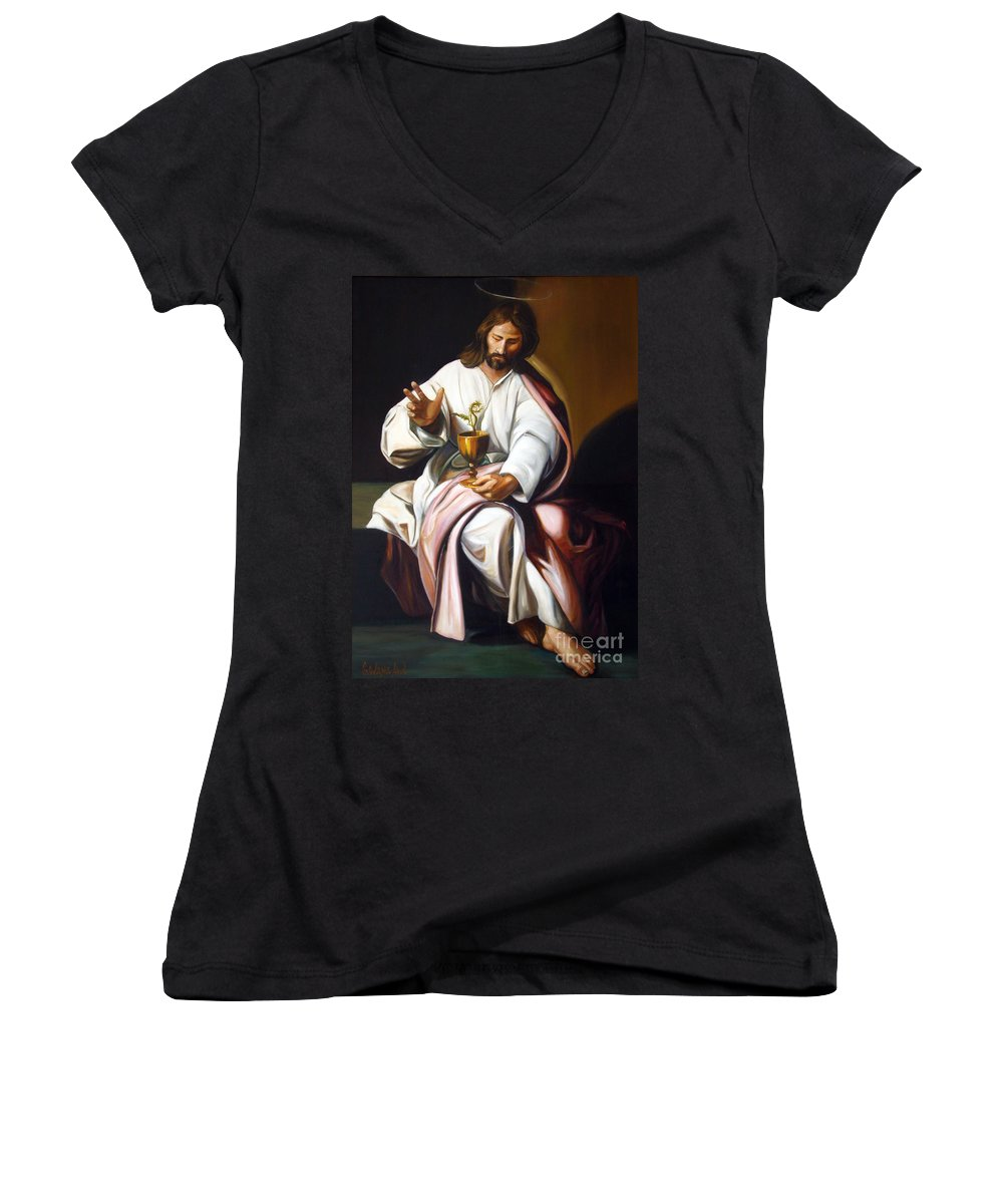 Classic Art Women's V-Neck T-Shirt featuring the painting St John The Evangelist by Silvana Abel