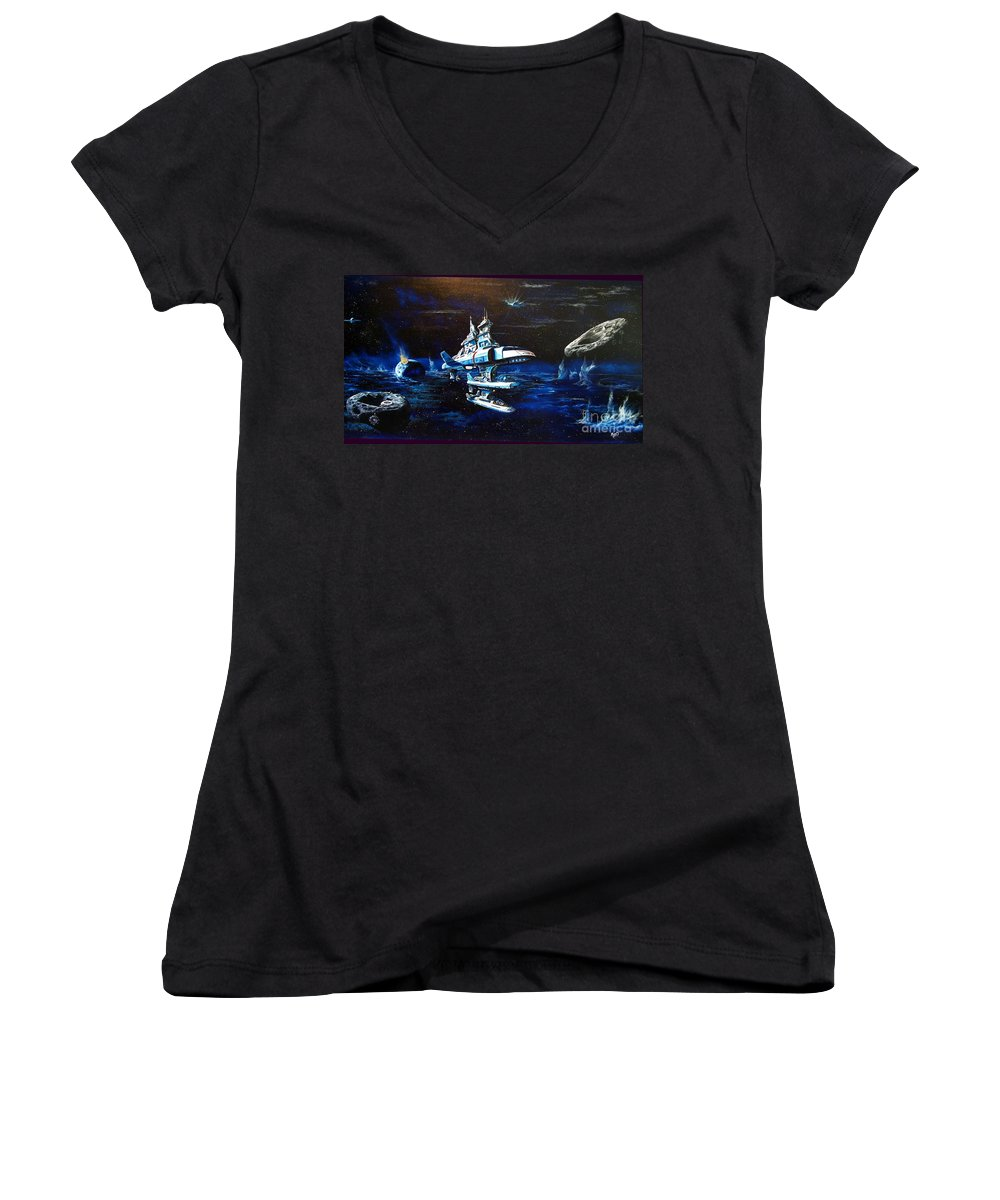 Alien Women's V-Neck (Athletic Fit) featuring the painting Stellar Cruiser by Murphy Elliott