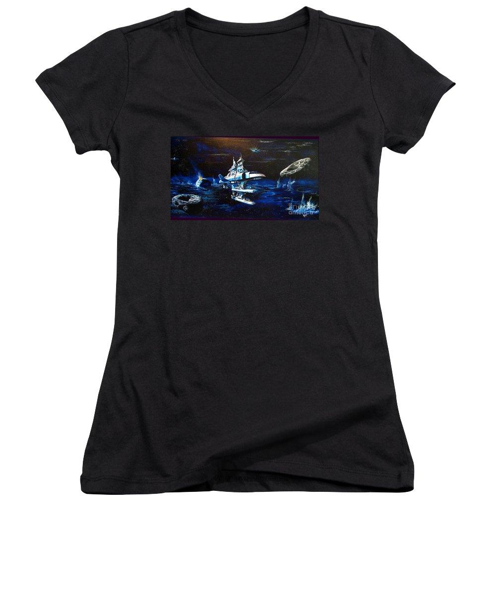 Alien Women's V-Neck T-Shirt featuring the painting Stellar Cruiser by Murphy Elliott