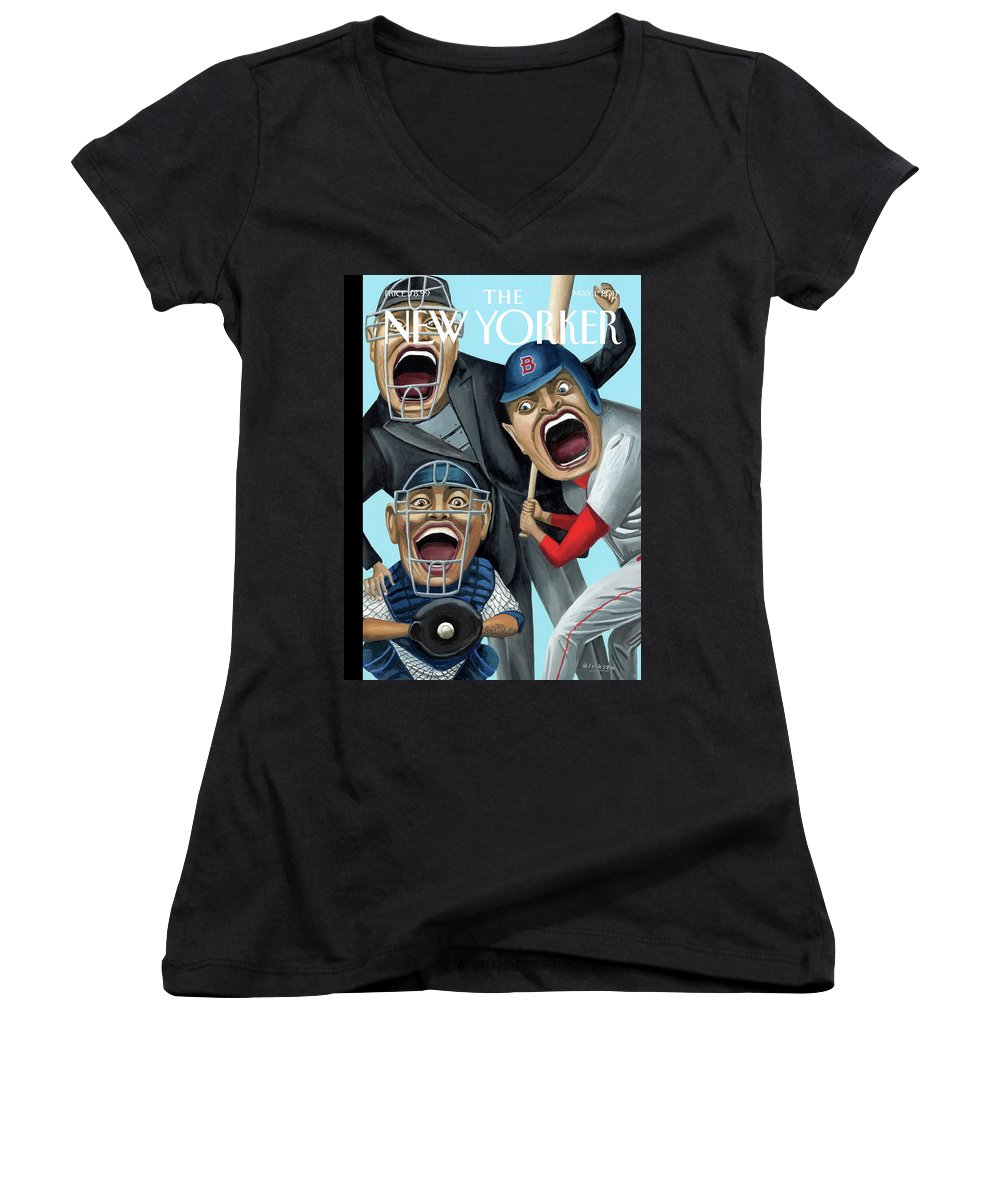 Strike Zone Women's V-Neck featuring the painting Strike Zone by Mark Ulriksen