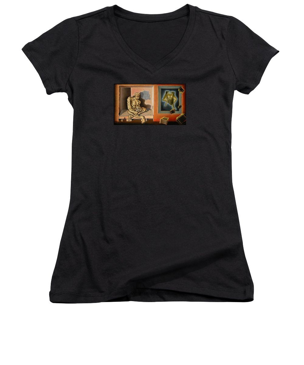 Surreal Women's V-Neck (Athletic Fit) featuring the painting Surreal Portents Of Genius by Dave Martsolf